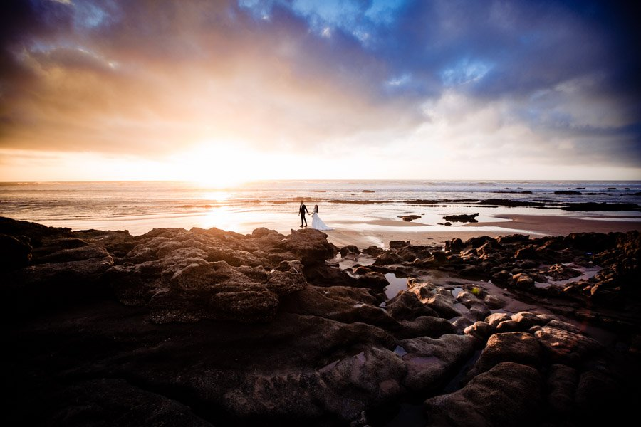 Sunset wedding photography on beach in Morocco
