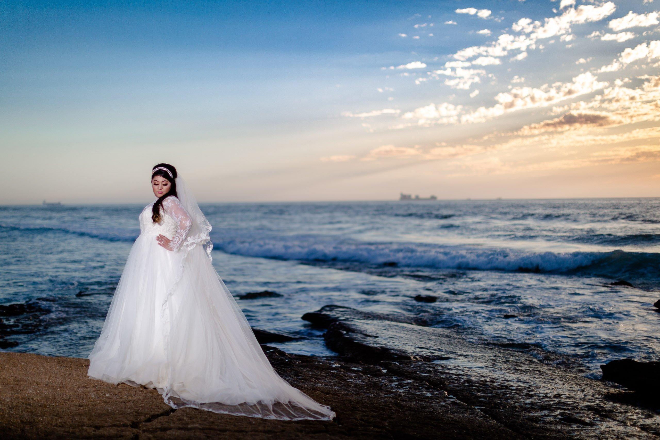 Bridal portrait on Agadir's beach
