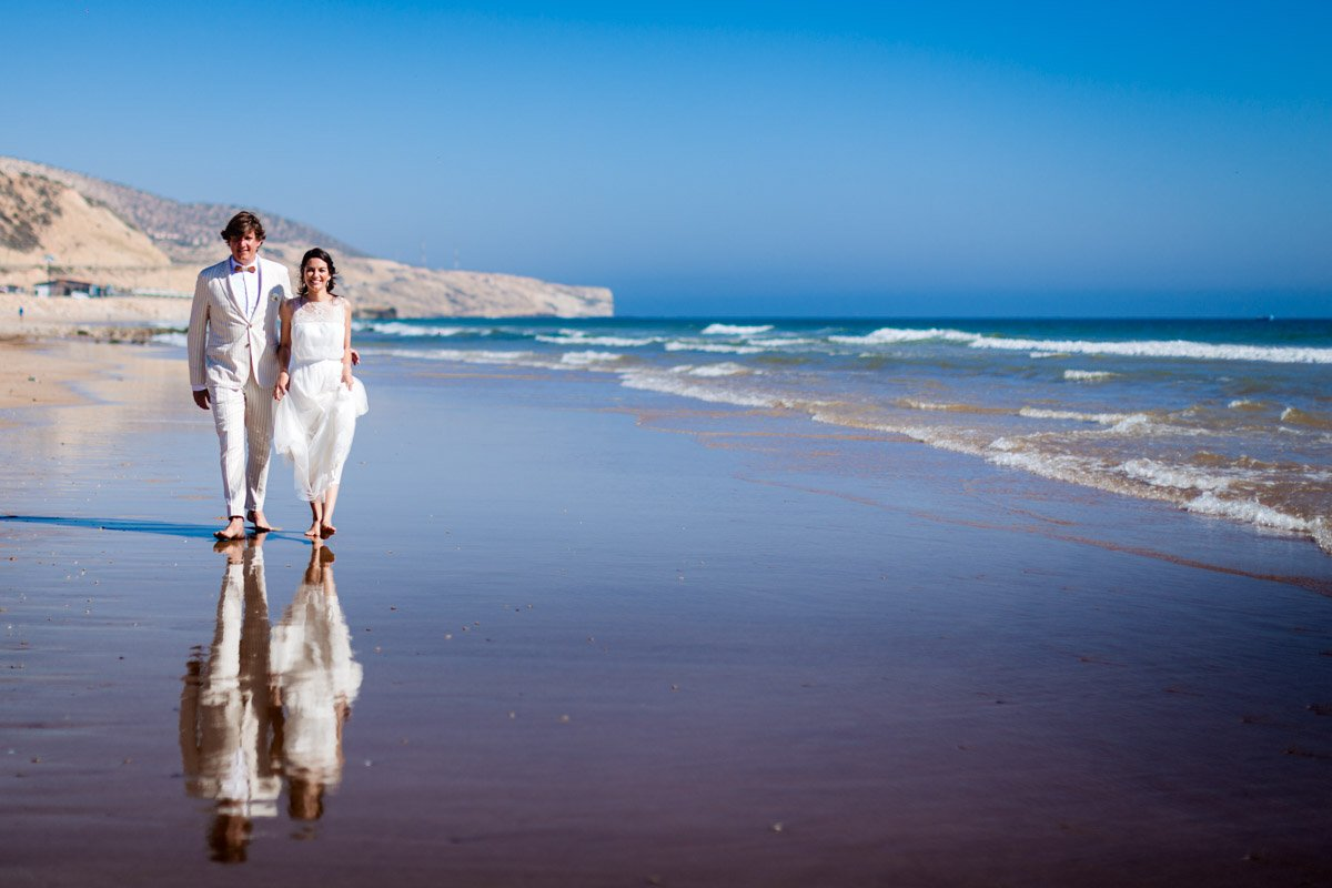 Beautiful beach destination wedding photography in Morocco